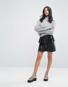 Ярусная юбка из искусственной кожи Noisy May - Черный