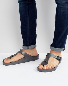 Темно-серые сандалии металлик Birkenstock Gizeh Eva - Серый