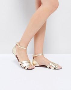 Золотистые сандалии на плоской подошве с ремешком на щиколотке ALDO - Золотой
