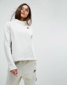 Флисовый свитшот с высоким воротом и молниями по бокам Nike Tech - Кремовый