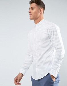 Рубашка классического кроя в полоску с воротом на пуговице Selected Homme - Белый