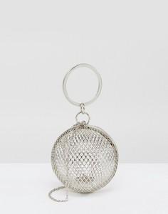 Сетчатый круглый клатч ASOS - Серебряный