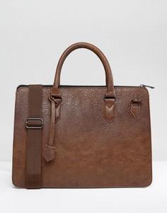 Коричневый портфель из искусственной кожи ASOS - Коричневый