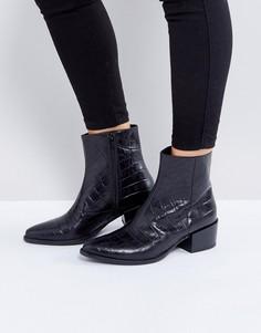 Черные кожаные ботинки с эффектом крокодиловой кожи Vagabond Marja - Черный