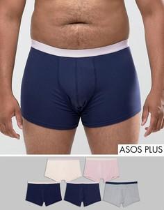 5 боксеров-брифов (темно-синие, розовые, серые) ASOS PLUS - Мульти