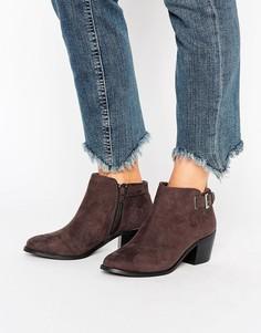 Ботинки на каблуке с пряжкой Head Over Heels - Серый