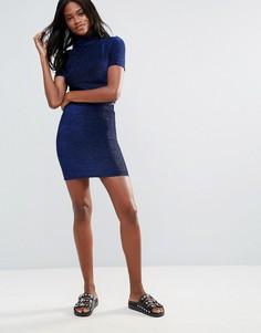 Облегающая юбка с эффектом металлик First & I - Синий