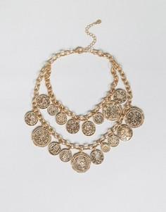 Многоярусное ожерелье с монетками ALDO - Золотой