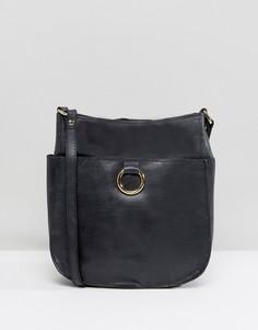 Кожаная сумка на плечо в винтажном стиле с кольцом ASOS - Черный