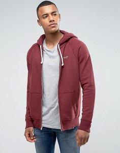Худи бордового меланжевого цвета классического кроя с молнией и логотипом Hollister - Красный