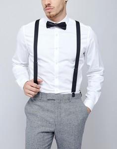 Черные подтяжки и галстук-бабочка ASOS WEDDING - Черный
