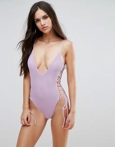 Слитный купальник со шнуровкой по бокам Blue Life - Фиолетовый