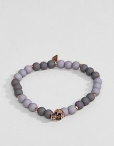Серый браслет с бусинами и черепом Icon Brand - Серый