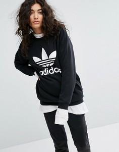 Черный свитшот с логотипом-трилистником adidas Originals - Черный