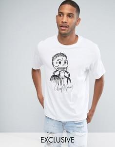 Свободная футболка с принтом черепа и логотипом Cheap Monday - Белый