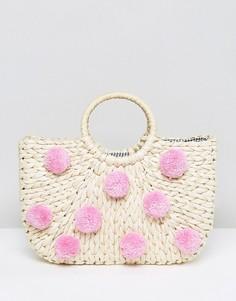 Соломенная сумка с розовыми помпонами Skinnydip - Бежевый