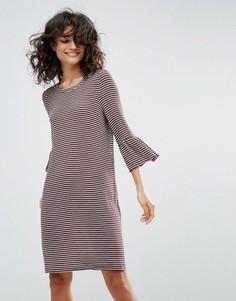 Платье в полоску с оборками на рукавах Vero Moda - Мульти