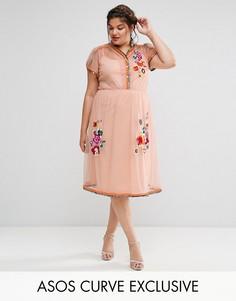 Сетчатое платье миди с вышивкой и отделкой ASOS CURVE PREMIUM - Оранжевый