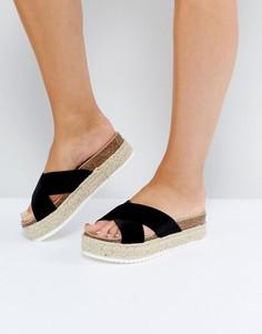 Бархатные сандалии-эспадрильи на платформе New Look - Черный