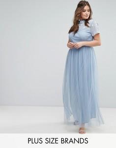 Платье макси с отделкой на кокетке Lovedrobe - Синий