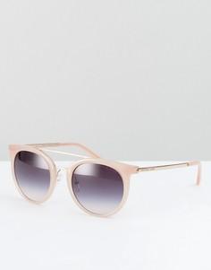 Розовые круглые солнцезащитные очки с двойной планкой Michael Kors - Розовый