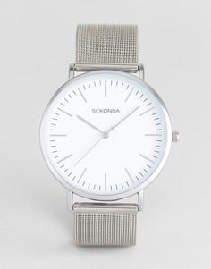 Часы с сетчатым ремешком и белым циферблатом Sekonda эксклюзивно для ASOS - Серебряный
