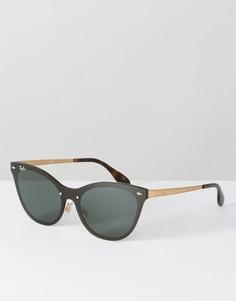 Черные солнцезащитные очки кошачий глаз с плоскими стеклами Ray Ban - Черный