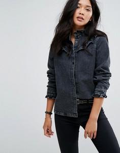 Джинсовая рубашка с оборками Boohoo - Черный