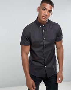 Темно-серая узкая рубашка с короткими рукавами ASOS - Серый