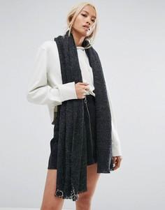 Вязаный шарф оверсайз с кольцами Shikumi - Серый
