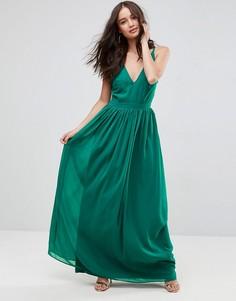 Платье макси на бретелях с глубоким вырезом и завязками на спине ASOS - Зеленый