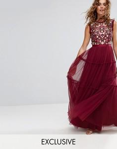 Платье макси из тюля с вышивкой и отделкой Needle and Thread - Красный