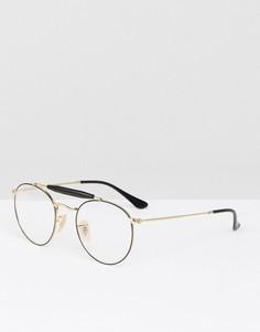 Круглые очки с планкой сверху Ray-Ban 0RX3747V - Золотой