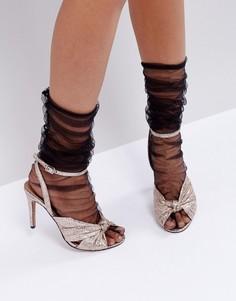 Сетчатые присборенные носки до середины икры ASOS - Черный