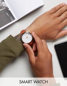 Смарт-часы со светло-коричневым кожаным ремешком Timex IQ Hybrid - Рыжий