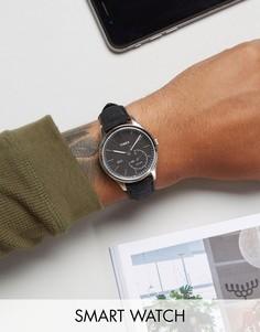 Смарт-часы с черным кожаным ремешком Timex IQ - Черный