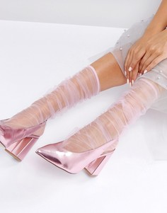 Сетчатые присборенные носки до середины икры ASOS - Розовый