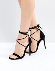 Сандалии на каблуке и шнуровке Missguided - Черный