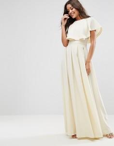 Платье макси с оборками на плечах ASOS - Кремовый