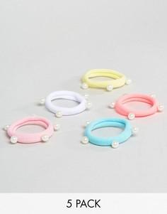 Набор из 5 разноцветных резинок для волос ASOS - Мульти