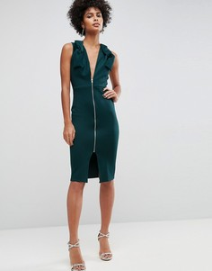 Облегающее платье миди с глубоким вырезом и бантами ASOS - Зеленый