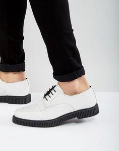 Белые кожаные туфли на шнуровке с толстой подошвой ASOS - Белый
