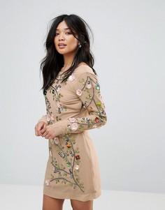 Платье с цветочной отделкой Glamorous - Коричневый