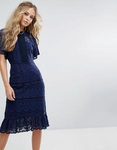 Платье миди с кружевной вставкой Foxiedox - Темно-синий