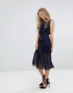 Платье миди с поясом Foxiedox - Темно-синий