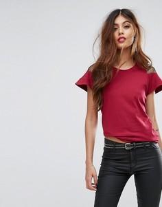 Трикотажная футболка с кружевными вставками Sisley - Розовый