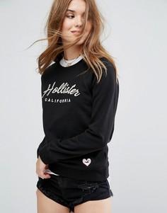 Свитшот с логотипом Hollister - Черный