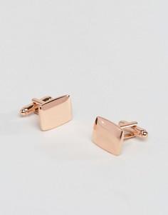 Квадратные запонки цвета розового золота ASOS - Розовый