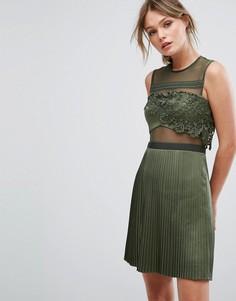 Платье мини с плиссированной атласной юбкой Three Floor - Зеленый