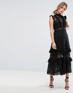 Ярусное кружевное платье миди Three Floor - Черный